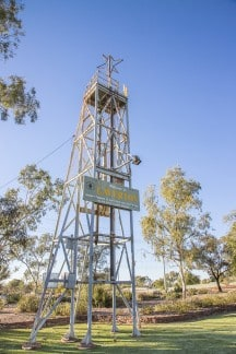 Headframe at roundabout on Augusta Street, Laverton