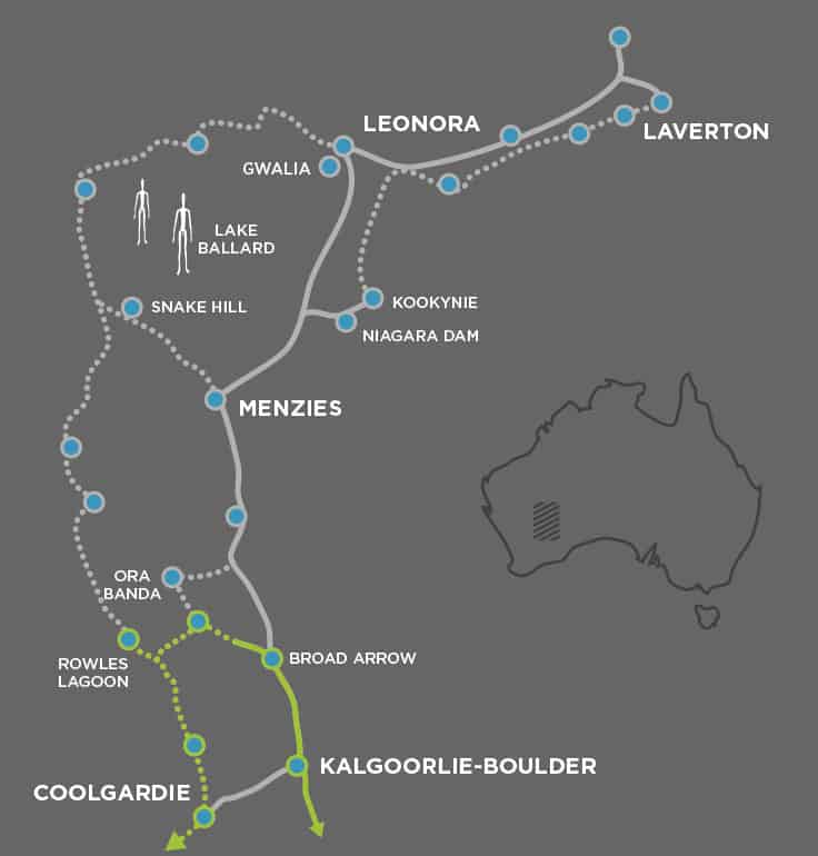 Map of the Golden Quest trail also showing the Freen Trail Great Western Woodlands itinerary