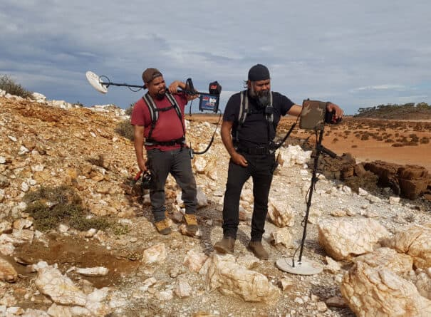 Two prospectors looking for gold in outback Western Australia